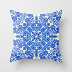 Cobalt Blue & China White Folk Art Pattern Throw Pillow by Micklyn | Society6