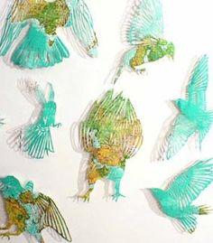 Map paper cut birds