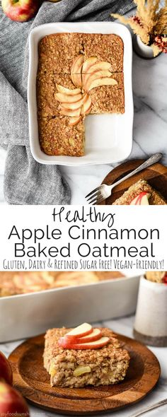 This Apple Cinnamon Baked Oatmeal is a healthy & hearty breakfast recipe that your entire family will love. It's gluten-free and dairy-free with no refined sugar. Plus it's vegan-friendly!