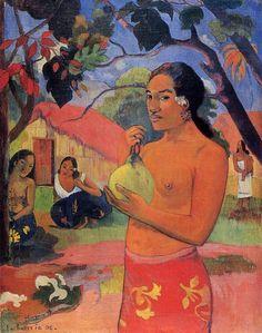 Donna che tiene un frutto, olio su tela di Paul Gauguin (1848-1903, France)