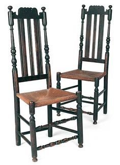 Pair of southeastern Pennsylvania William & Mary banister back dining chairs, ca. 1730, each with scalloped and pierced crest and rush seat.