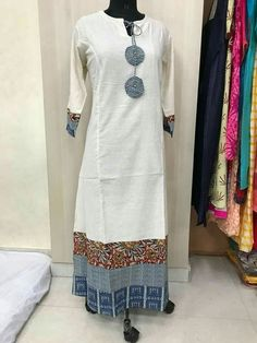 White and blue always works together Kurta Designs Women, Salwar Designs, Kurti Designs Party Wear, Dress Neck Designs, Designs For Dresses, Blouse Designs, Frock Fashion, Fashion Outfits, Kurtha Designs