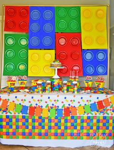 A Lego Fans dream Party!!! So creative and colorful! See more parties at CatchMyParty.com