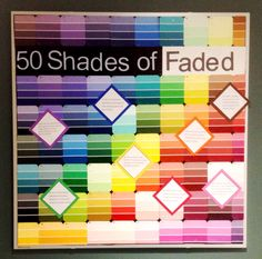 The background of the board was constructed of paint chips. The title is a pun…