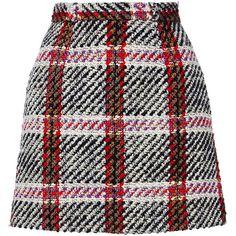 Carven Checked Mini Skirt (1.305 BRL) found on Polyvore featuring women's fashion, skirts, mini skirts, bottoms, saias, checkered skirt, checkerboard skirt, carven skirt, checked skirt and short mini skirts