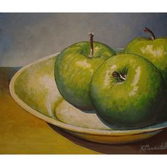 Three Green Apples an original acrylic painting by kevinmeredith, $65.00
