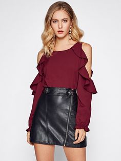 Cheap ruffle blouse, Buy Quality blouse fashion directly from China fashion blouses Suppliers: COLROVIE Open Shoulder Ruffle Blouse Elegant Women Burgundy Autumn Tunic Tops 2017 Fall Fashion Sexy Cut Long Sleeve Slim Blouse Sexy Fall Fashion, Fashion 2017, Autumn Fashion, Womens Fashion, Fashion Black, Fashion Dresses, Blouse Volantée, Ruffle Blouse, Ruffle Top