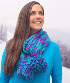 Pompom Parade Scarf By Cristina Mershon - Free Crochet Pattern - (redheart)