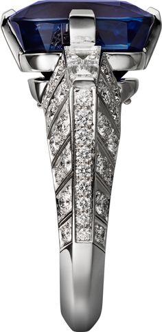 CARTIER. Ring - platinum, one 15.06-carat cushion-shaped sapphire from Kashmir, tapered diamonds, brilliant-cut diamonds. #Cartier #CartierMagicien #HauteJoaillerie #FineJewelry #Diamond #Kashmir #Sapphire