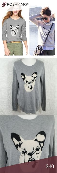 """GAP Intarsia Frenchie Bulldog Wool Blend Sweater Hi Guys! i'm Selling this Adorable GAP French Bulldog Sweater! It's a size Medium in Good Condition! it's wool blend but it's soft not itchy. seen on bloggers and i believe an actress so it's a trendy sweater. Measurements: Pit to pit is 21"""". Waist about 20"""". Length 23.5"""". #270 GAP Sweaters"""