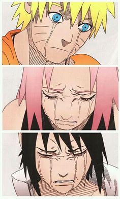 Naruto: Naruto, Sakura, and Sasuke crying