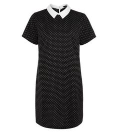 New Look: Black Contrast Collar Pin Dot Tunic Dress