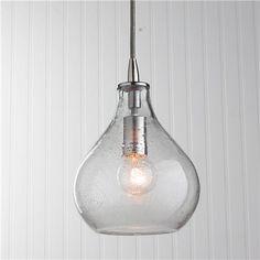Glass pendant light fixture edison bulb brushed nickel pendant teardrop seeded glass pendant aloadofball Gallery