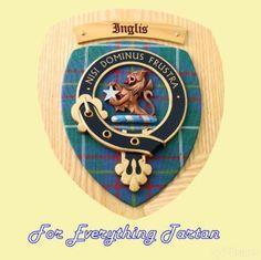 Clan Inglis Tartan Woodcarver Wooden Wall Plaque Inglis Crest 7 x 8