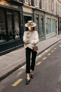 Parisian style editorial moynat vanity case with julien david cozy cashmere sweater and Brixton mustard fedora hat the kooples slippers outfit ideas