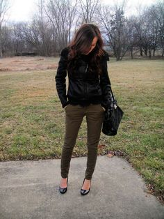I love the little bit of lace peeking out from under the jacket and the military-esque skinnies