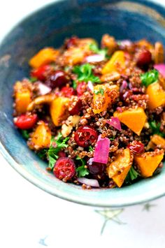 Red quinoa butternut squash salad