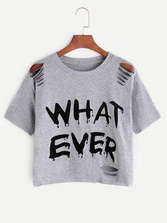 Camiseta rota con estampado de letra - gris
