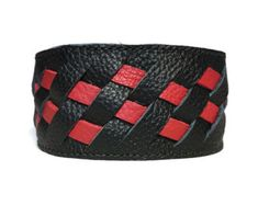 Braided leather cuff, red and black cuff, mens bracelets leather, mens cuffs leather, mens wristbands, mens armbands.