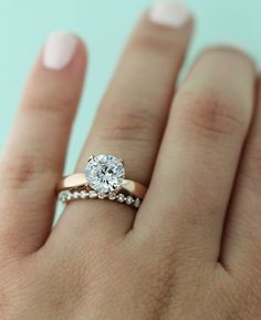 Rose Gold Engagement Ring with Willow Wedding Band - mix and match wedding set!