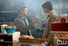 """""""Hollywood Babylon"""" (R-L) Sam (Jared Padalecki ) and Dean (Jensen Ackles) make a visit to the set of a horror movie in Hollywood to investigate the death of one of the actors.   The  boys take jobs as production assistants to get to the bottom of the rumors about the studio lot being haunted by ghosts in SUPERNATURAL on The CW. Photo: Sergei Bachlakov/ The CW�2007 The CW Network, LLC. All Rights Reserved.pn"""