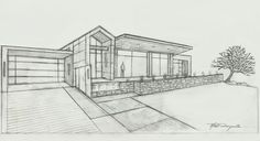 Concept elevation for a modern, southwestern Asian fusion style home designed by Matt Dougan see more at Matt Dougan Design on Houzz.com #architectural sketch #architecturaldrawings #architectural drawingsbymattdougan