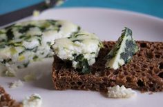 Homemade Goat's Cheese with Wild Garlic (Bear Garlic/Ramsons).  Lovely springtime recipe.  Now to find me some ramsons!