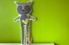 softie animal - Reinaldo the grey cat, in high quality cotton fabric. €27,00, via Etsy.