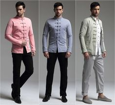 Men Chinese Style Tang Suit Trend Coat Top