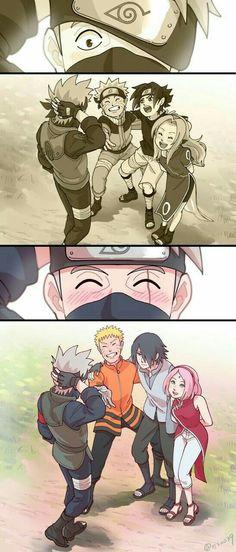 Team 7, Naruto, Sakura, Sasuke, Kakashi, blushing, smiling, comic, cute, young, childhood, different ages, time lapse; Naruto