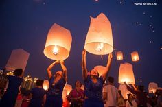 Sky lanterns released to celebrate new year of Dai ethnic group in SW China.