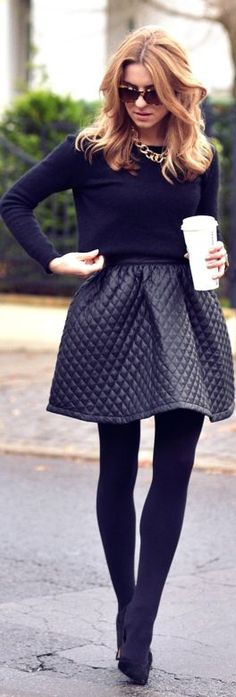 It Looks Better In #Black by Make Life Easier #fashion #leather #winter #skirt #gold #coffee #run