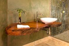 Live edge wood countertop in bathroom | nature inspired bathroom