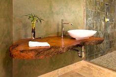 Live edge wood countertop in bathroom | nature inspired bathroom