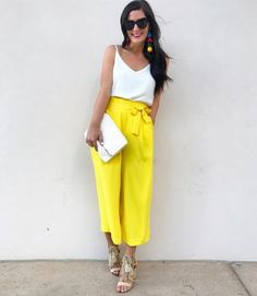 I feel like it's fair to say that yellow is my color of the summer 🙌🏼 💛 Wore this little number to a fun little get together with my @rewardstyle babes and dinner last night! Love having some of my favorite gals here in Dallas and catching up. // Shop this exact look (exact trousers are from Zara but I found some similar options AND my earrings are back in stock!) by clicking the link in my bio or using @liketoknow.it and 'liking' or taking a screenshot of this photo…