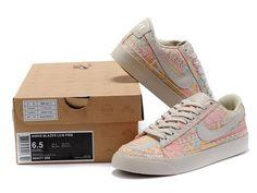 Wmns Nike Blazer Low Prm Women's Casual Skater Shoe 454471 200 Pink/Grey/Yellow/White