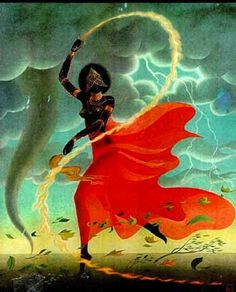 "Oya is a Great Yoruban Orisha. She is the goddess of Storms and Winds, from rainbows to thunder. Her name means ""She Who Tore"" in Yoruba. Oya Goddess, Mother Goddess, African Mythology, African Goddess, Sacred Feminine, Divine Feminine, Baba Yaga, Religion Wicca, Orishas Yoruba"