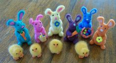 Needle felted Easter bunnies and chicks