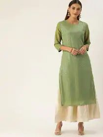House of Pataudi Women Olive Green & Silver-Toned Embroidered Straight Kurta
