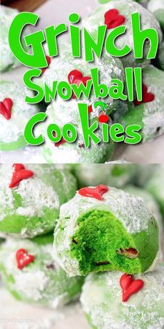 So cute and easy to make! A colorful snowball cookie decorated with red candy hearts - inspired by the Grinch! Grinch Cookies, Snowball Cookies, Holiday Cookies, Holiday Desserts, Holiday Treats, Holiday Recipes, Green Desserts, Christmas Party Food, Christmas Sweets