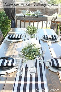 Black and White Tablescape Ideas   www.settingforfour.com