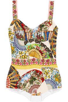 Dolce & GabbanaPrinted silk-blend bodysuit  #DolceGabbana