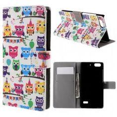 Huawei Honor 4C värikkäät pöllöt puhelinlompakko. #pöllö #owl #phonecase