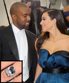 The Most Breathtaking Celebrity Engagement Rings Ever - Kim Kardashian and Kanye West from InStyle.com