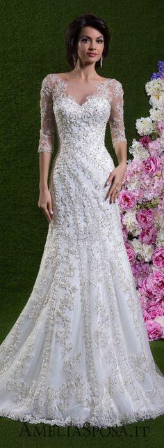 I like the way the detailing swirls along the dress Amelia Sposa Wedding Dress 2018 #weddingdress