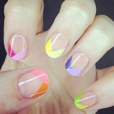 Angled multicolour French manicure.