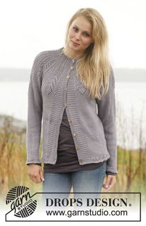 """Knitted DROPS jacket with lace pattern and round yoke in """"Baby Alpaca Silk"""". ~ DROPS Design"""