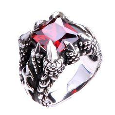 Beautiful Garnet Gemstone Ring for Men's .925 Silver Jewelry Fashion