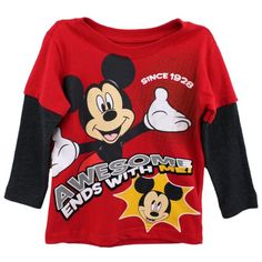 Mickey Mouse Toddler Boys Shirt Awesome Ends With Me Tee Red 3T *** Want to know more, click on the image. (This is an affiliate link) #BabyBoyTops