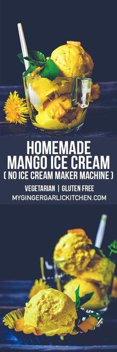 Homemade Mango Ice Cream Recipe (No Ice Cream Maker Machine). Can you believe this creamiest and dreamiest tropical mango ice cream is made without an ice cream maker? It's true. This summer blockbuster recipe makes a super creamy and classic ice cream full of original fresh mango flavors. From: mygingergarlickitchen.com #icecream #mango  #dessert #sweets #glutenfree #vegetarian #videorecipe #cooking #summerdessert #partyfood #indiancuisine